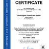 Certificate ISO 14001:2015 Oberaigner Powertrain