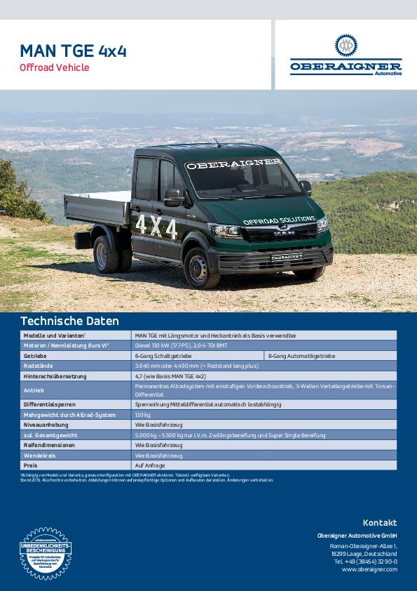 Datenblatt MAN TGE 4x4